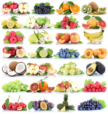 white grape: Fruits fruit collection orange apple apples banana strawberry pineapple pear grapes organic isolated on a white background