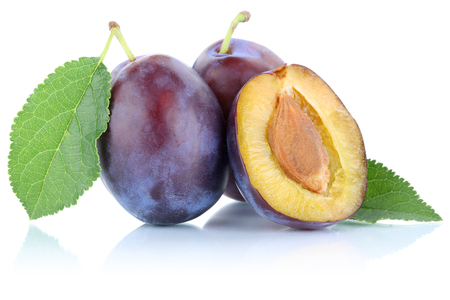 Plums plum prunes prune slice organic fruits fruit isolated on a white background
