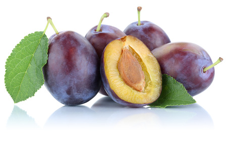 Plums plum prunes prune slice fresh fruits fruit isolated on a white background