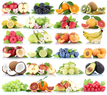 white grape: Fruits fruit collection orange apple apples banana strawberry pear grapes organic isolated on a white background