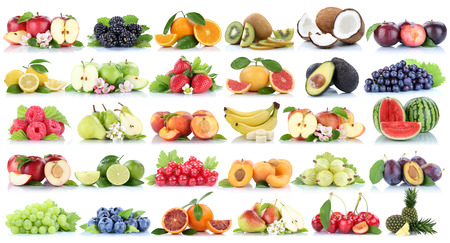 Fruits fruit collection orange apple apples banana strawberry pear grapes lemon cherry organic isolated on a white background Archivio Fotografico