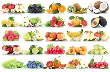 white grape: Fruits fruit collection orange apple apples banana strawberry pear grapes cherry organic isolated on a white background Stock Photo
