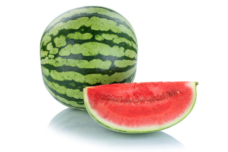 summer fruits: Watermelon fruits fruit summer isolated on a white background Stock Photo