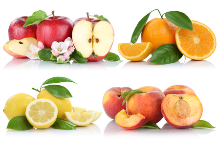 apples and oranges: Fruits apple orange peach apples oranges organic collection isolated