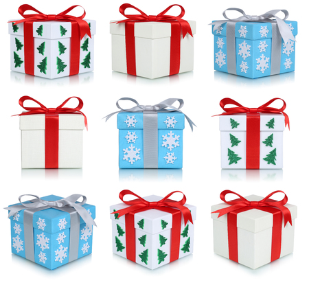 cajas navideñas: Christmas gift boxes collection set of gifts isolated on a white background