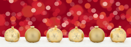 space text: Christmas lights golden balls banner decoration background copyspace copy space text Stock Photo