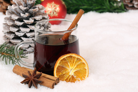 Mulled wine on Christmas drinking alcohol drink decoration with snow and copyspace Stock Photo
