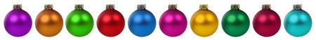 many christmas baubles: Christmas balls baubles many colorful decoration border in a row isolated Stock Photo