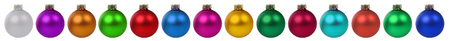 many christmas baubles: Christmas balls baubles many colorful decoration border in a row isolated on a white background Stock Photo
