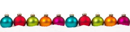 Boules colorées de Noël bannière décoration copyspace copie espace isolé sur fond blanc Banque d'images - 63731284