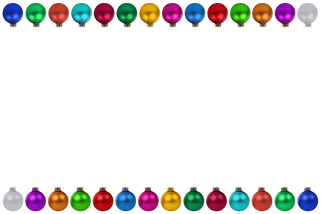 many christmas baubles: Christmas balls baubles many colorful decoration copyspace copy space border in a row isolated on a white background Stock Photo
