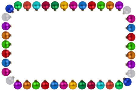 many christmas baubles: Christmas balls baubles many colorful decoration frame copyspace copy space border isolated on a white background Stock Photo