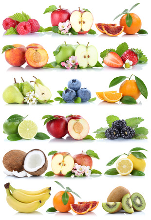 apples and oranges: Fruits apple orange berries apples oranges banana fresh fruit strawberry pear collection isolated