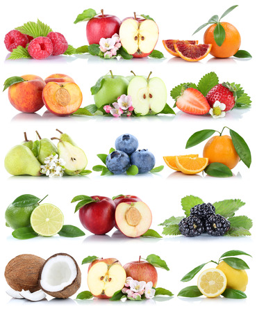 apples and oranges: Fruits apple orange berries apples oranges banana fresh fruit strawberry collection isolated