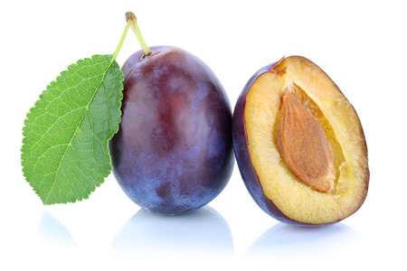 Plums plum prunes prune fresh fruit isolated on a white background Stock Photo