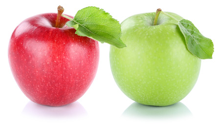manzana verde: Apple manzanas de frutas frescas frutas rojas aisladas sobre fondo blanco