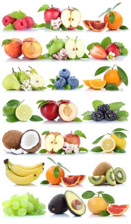 apples and oranges: Fruits apple orange berries apples oranges banana grapes fresh fruit strawberry pear collection Stock Photo