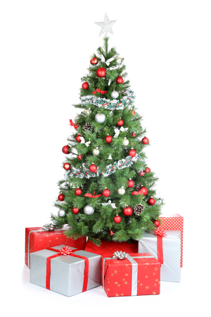 christmas tree: Christmas tree gifts present decoration isolated on a white background