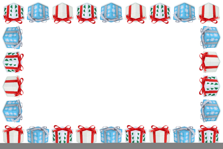 christmas present box: Christmas gifts gift box present frame copyspace copy space isolated on white Stock Photo