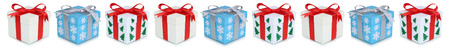 christmas present box: Christmas gifts gift box present in a row isolated on white Stock Photo
