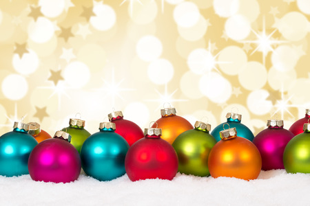 copyspace: Many colorful Christmas balls background decoration stars snow winter copyspace