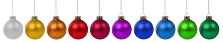 many christmas baubles: Christmas balls baubles colorful in a row isolated on a white background