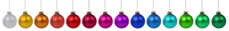 many christmas baubles: Christmas balls baubles colorful decoration in a row isolated on a white background