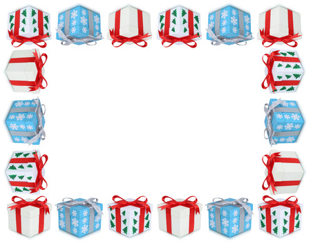 christmas present box: Christmas gifts gift box present frame copyspace copy space isolated on a white background Stock Photo