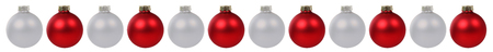 Christmas balls baubles red silver border in a row isolated on a white background