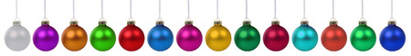 many christmas baubles: Christmas balls baubles many colorful decoration in a row isolated on a white background