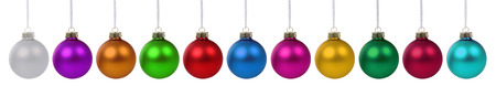 many christmas baubles: Christmas balls baubles many colorful decoration deco border in a row isolated