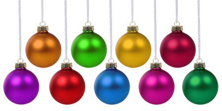 hanging: Christmas balls hanging baubles colorful decoration isolated Stock Photo