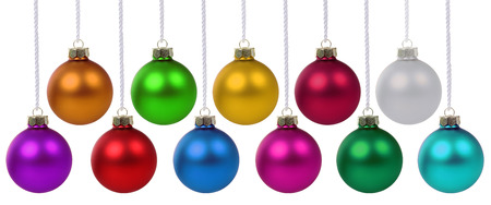 many christmas baubles: Christmas balls baubles many colorful decoration deco hanging isolated