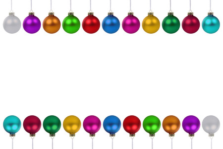 many christmas baubles: Christmas balls baubles many colorful border copyspace copy space isolated on a white background