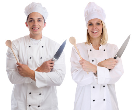 trainees: Cook apprentice trainee trainees cooks cooking with knife job young isolated on a white background