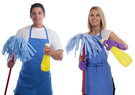 charlady: Cleaning lady person service cleaner woman man job occupation young people isolated on a white background Stock Photo