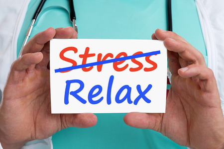 destress: Stress stressed relax relaxed burnout ill illness healthy doctor with sign