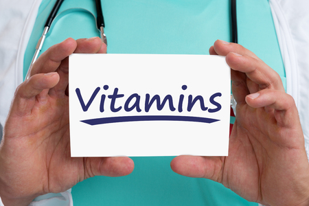 ailing: Vitamins vitamin healthy eating lifestyle doctor health with sign Stock Photo
