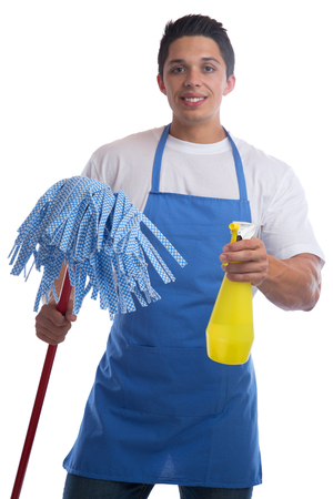 service man: Cleaning person service cleaner man job occupation young isolated on a white background