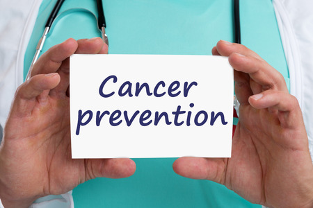 cancer screening: Cancer prevention screening check-up disease ill illness healthy health doctor with sign