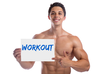 isolated man: Bodybuilder bodybuilding muscles body builder building workout sign strong muscular young man isolated on a white background Stock Photo