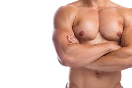 hombres sin camisa: músculos del pecho culturismo culturista posando de flexión constructor del cuerpo copyspace construcción muscular hombre fuerte aislado en un fondo blanco