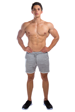 the whole body: Bodybuilder bodybuilding muscles standing whole body portrait strong muscular young man isolated on a white background
