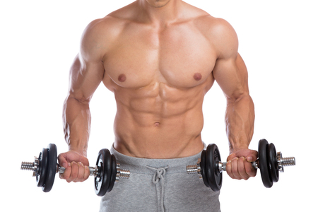cuerpo hombre: Bodybuilder bodybuilding muscles dumbbells biceps training body builder building power strong muscular man isolated