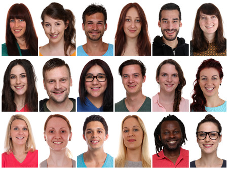 multi racial: Collection group portraits of multiracial young smiling people isolated on a white background