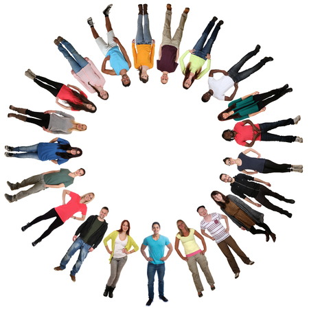 community people: Smiling multicultural multi ethnic happy group of young people in circle isolated