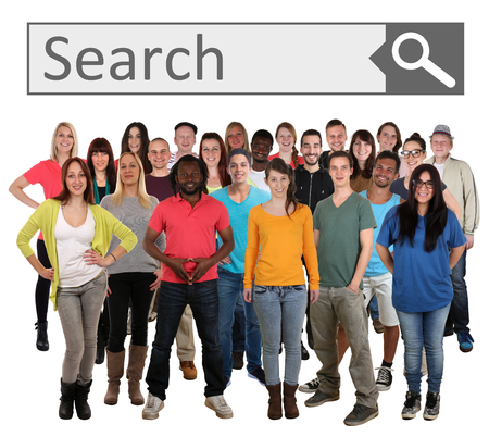 search searching: Group of young smiling people searching search engine internet isolated on a white background