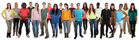 multi racial: Large group of smiling young people happy multi ethnic isolated on a white background Stock Photo