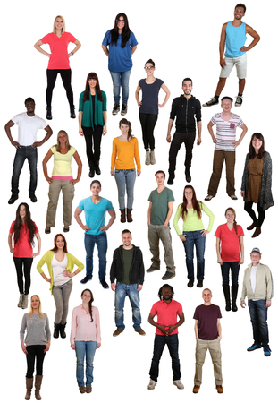 multi racial groups: Large multi ethnic group of smiling smile happy young people background isolated Stock Photo