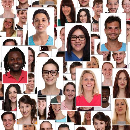 collage caras: Grupo de gente feliz sonriente sonrisa multirracial de jóvenes se enfrenta a fondo Collage del retrato